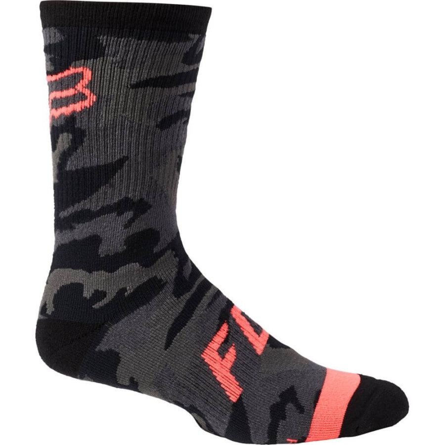 "Fox Defend 8"" Sock Black Camo, Fox Socks, Fox MTB Clothing, Fox MTB Socks, MTB Socks, Fox Stockist, Fox Stockist Tweed Valley, Innerleithen, Peebles, Tweed Valley, Edinburgh, Glasgow, Newcastle, Manchester"